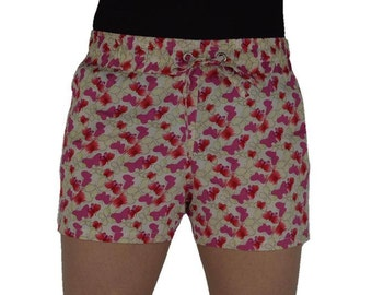 White Hot Pant/Capri WIth Red Butterfly Print