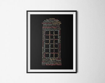 London print, London art, Wall art, Typography print, London phone booth, 2 colors available