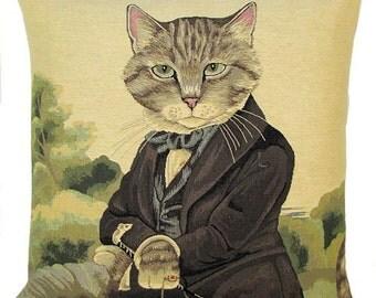 Cat Gift - Cat Pillow Cover - Susan Herbert Cat Portrait - Cat Lover Gift - Dressed Cat - Cat Portrait
