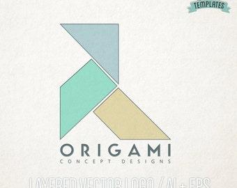 Origami Pajarita Vector Logo, Hand Drawn Logo, Vector Logo, Logo Template, Premade Logo, Business Branding, Boutique Logo, Business Logo