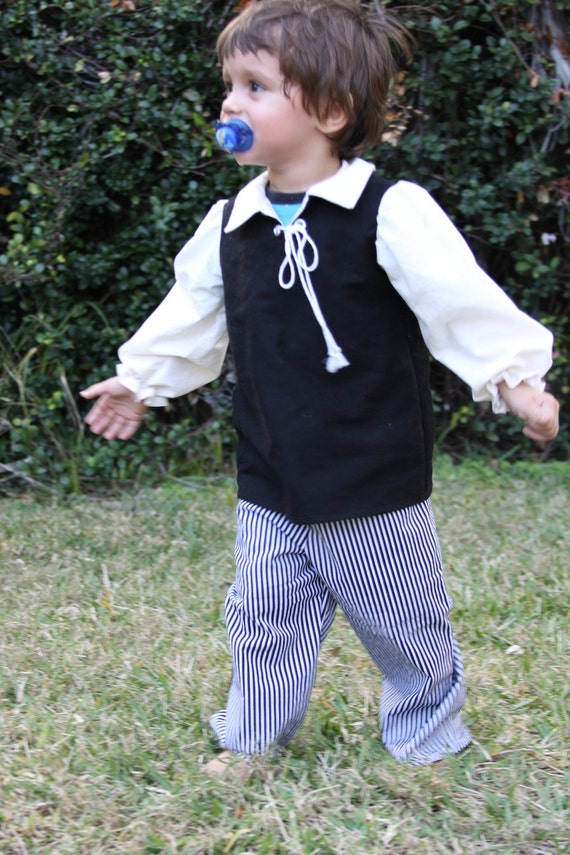 Toddler Pirate black and white stripe pants and tan top with decorative drawstring