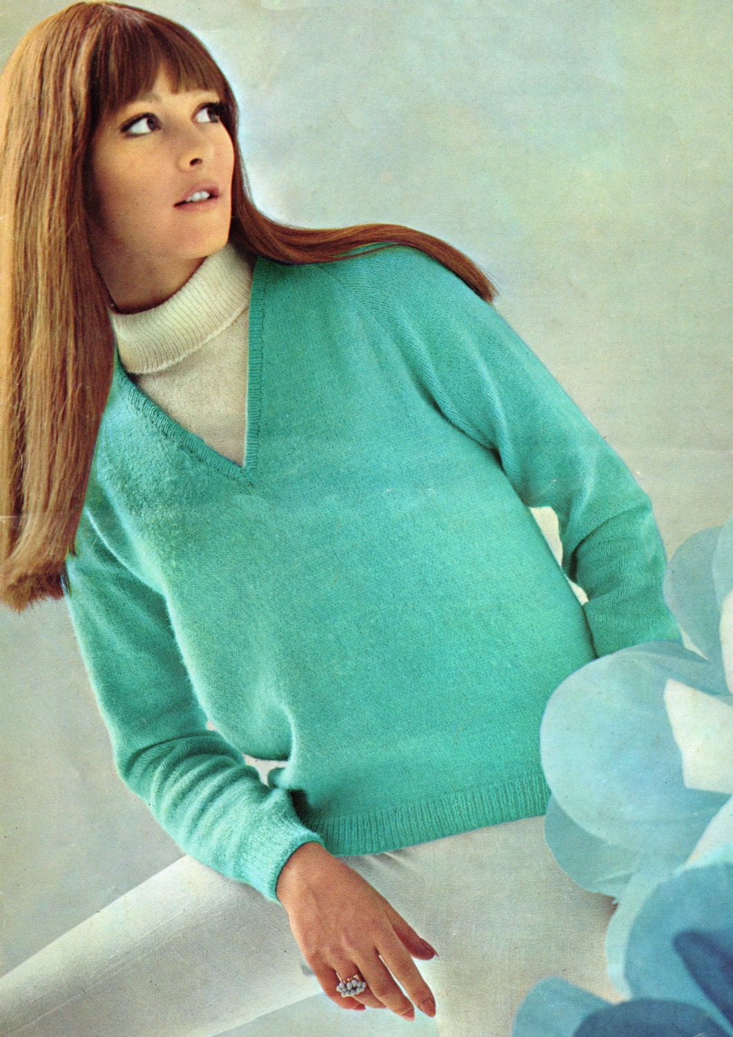 Knitting Pattern Ladies V Neck Jumper : Vintage Knitting Pattern Ladies V Neck Sweater and Sleeveless