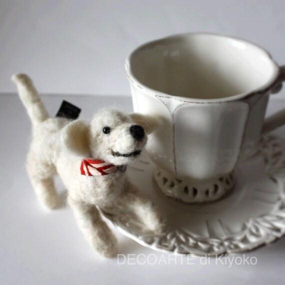 Labrador Retriever Needle Felting Dog With Bandana Of Kimono