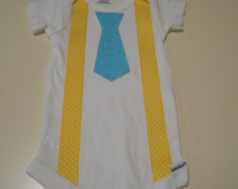 Baby Boy Suspenders and Tie Onesie - Yellow Polka Dot and Blue