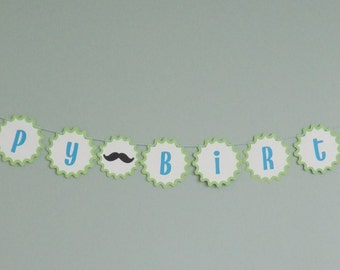 Little Man Mustache Happy Birthday Banner
