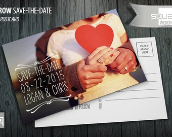 Save-the-Date - Photo Postcards - Custom Wedding Post Cards - Save the Date Photo Postcard - DARROW style - Bespoke Photography
