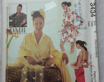 McCall's 3434 Misses' Lined Caftan, Bias Gown in two lengths, Top, Pull-On Pants and Shorts.  Size Xsm-Sml-Med