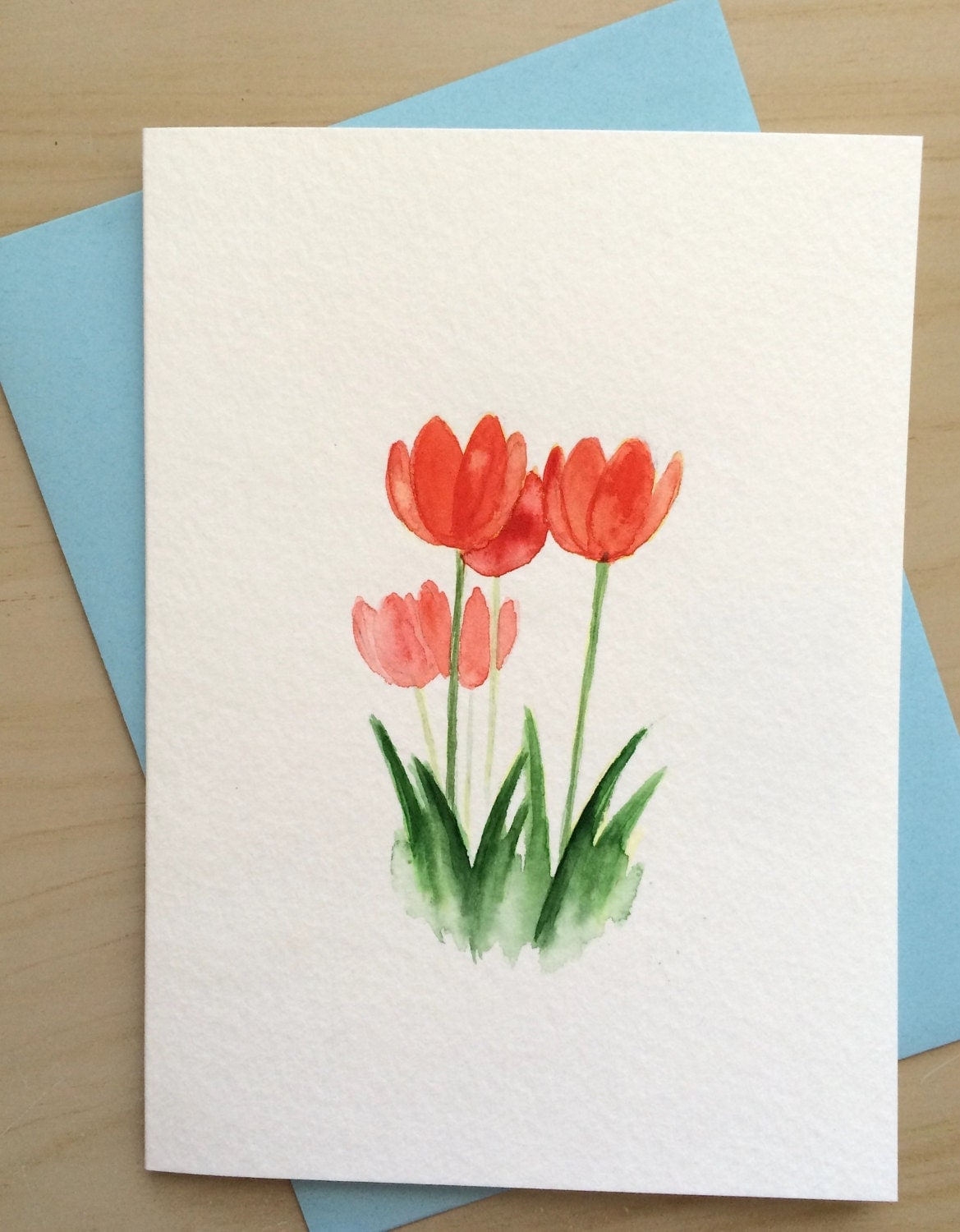 Sale hand painted card red tulips card original watercolor for Painted christmas cards