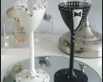 Bride and Groom Glasses/champagne toasting flute set. Hand made to order