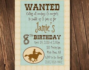 Cowboy Theme Birthday Party - Personalized 5x7 Invitation Printable