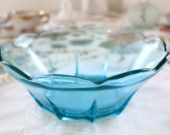 Vintage Aqua Glass Bowl with Scalloped Edges