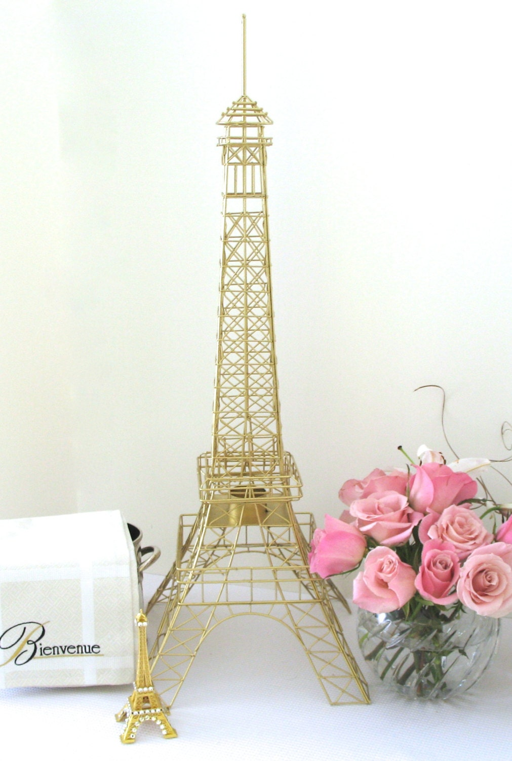 Eiffel Tower Gold Color 28 Inch Wire Metal Centerpiece Replica