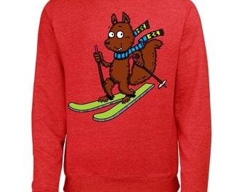 Skiing Squirrel Mens Winter Ski Snowboard Season Printed Sweatshirt Jumper