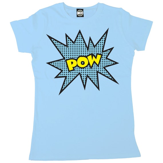 Pow womens classic retro super hero printed t shirt by for Retro superhero t shirts