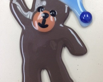 "Teddy Bear Fused Glass Ornament 3.25""x4.25"""