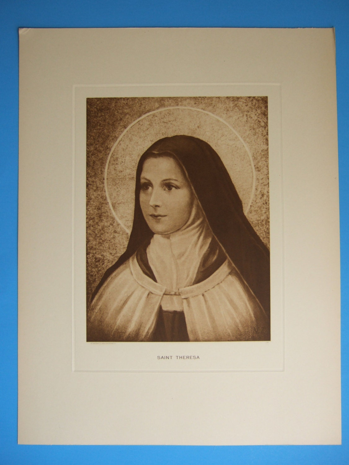 Vintage Catholic Print ST THERESE of Lisieux the Little