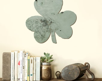 SHAMROCK Clover St. Patricks Day Irish Lucky Wood Cut Out Silhouette Wall Art Decor House Warming