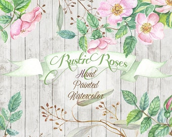 Roses Hand Drawn ClipArt Watercolor, spring flower clipart, rustic, wedding invitation, scrapbooking