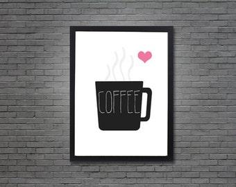 Coffee Mug Love   Digital Art, Printable