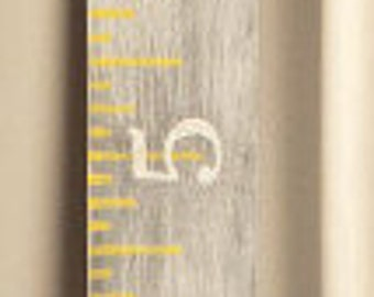 Nursery Decor - Growth Chart -Growth chart ruler- Whitewashed gray growth chart ruler with yellow accents and white horizontal numbers-