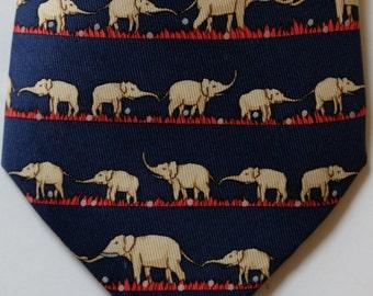 Hermes Elephant print whimsical tie