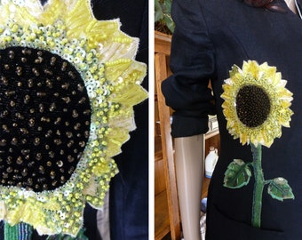 Orig 225.00 — OAK Black Linen Jacket Hand Beaded Sunflowers Statement Jacket Designed for the Rich and Famous