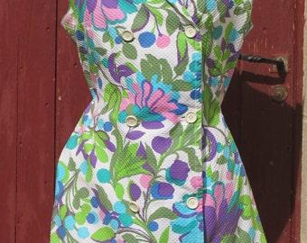 1960s piqué cotton floral shirt dress XL french vintage