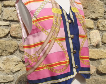 SALE Pink and gold royal print silk waistcoat Vintage 1970s