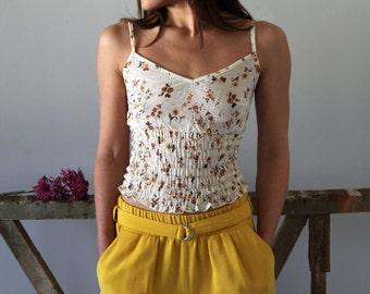 50 % OFF *** Cream floral romantic boho organic cotton summer top,one-size.