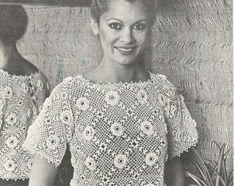 Vintage Ladies Irish Crochet Blouse/ Top Crochet PDF Pattern