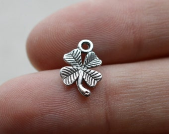 12 Clover #CH229 Antique Silver Charms-Lucky Clover Silver Jewelry Charms-Antique Silver Jewelry Supplies-Alloy Metal Loose Charms-Findings
