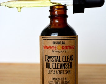 All Natural Crystal Clear Oil Cleanser for Oily and Acneic Skin
