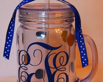 Personalized Acrylic Mason Jar Tumbler- 18 0z.