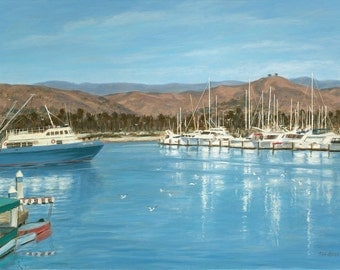 Beach print, Ventura Harbor, from original oil painting by Tina O'Brien