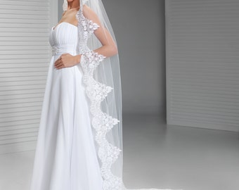 Lace Edge Cathedral Veil Mantilla Cathedral Veil