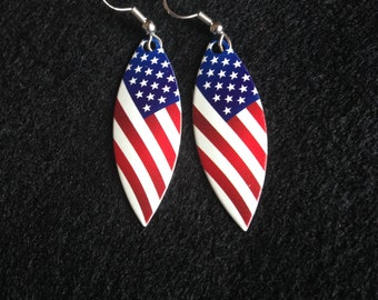 Fishing Lure Earrings-American Flag Patriotic Red, White and Blue 4th of July Willow Leaf Dangle-Hypoallergenic or Sterling Silver Earwires