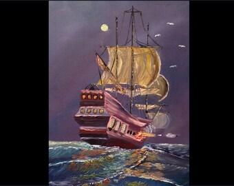 "Pirate Ship Sea: HALF PRICE SALE. Original Oil Painting on Canvas 14""x11"""