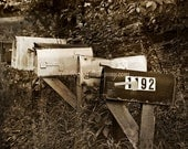 Rustic Country Mailboxes ~ Country Photography , Rural Photography ~ Sepia Brown Tint Photograph ~ Original Print ~ 8 x 10  11 x 14  16 x 20