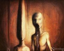 "Horror Oil Painting, Creepy, Surreal, Macabre ""American Dream"""