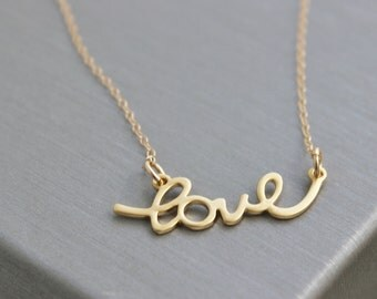 love necklace, gold love necklace, silver love necklace, cursive love necklace, simple necklace, sweet necklace, love jewelry, gifts for her