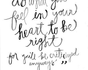 "Watercolor Digital Print of Eleanor Roosevelt Quote 8""x10"""