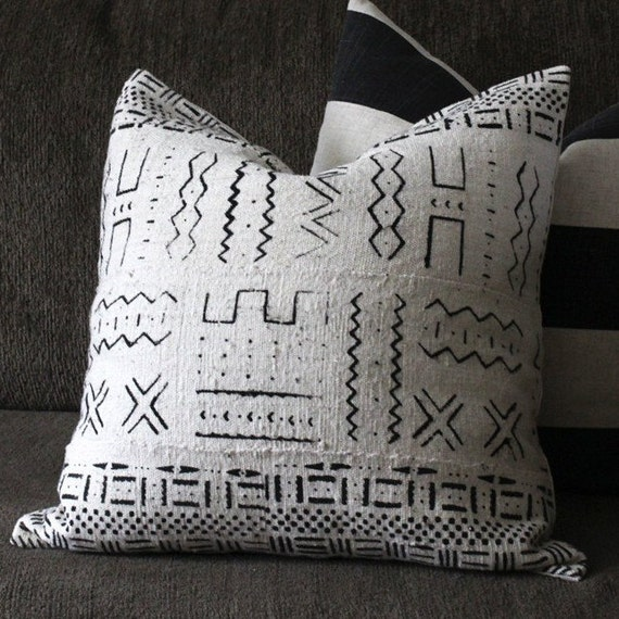 African Mudcloth Throw Pillow Cover 18 X 18 White