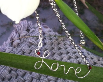 Love Necklace - Sterling Wire Word Necklace - Word Art