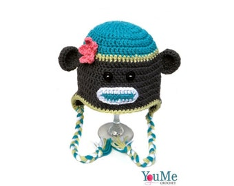 Sock monkey hat for girl, Little girl monkey hat, Handmade monkey hat, Monkey hat sock, Baby girl hat monkey, Baby girl hat