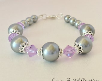 Grey and Purple Bracelet Grey Pearl Jewelry Bridesmaid Bracelet Purple Crystal Bracelet Bridesmaid Gift Mother of the Bride Gift Jewelry Set