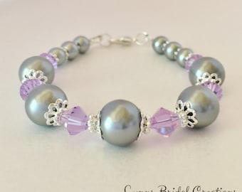 Silver Grey Wedding Bracelet Purple Bridal Gift Purple Bridesmaid Gift Silver Pearl Jewellery Mother of the Bride Gift Pretty Thankyou Gift