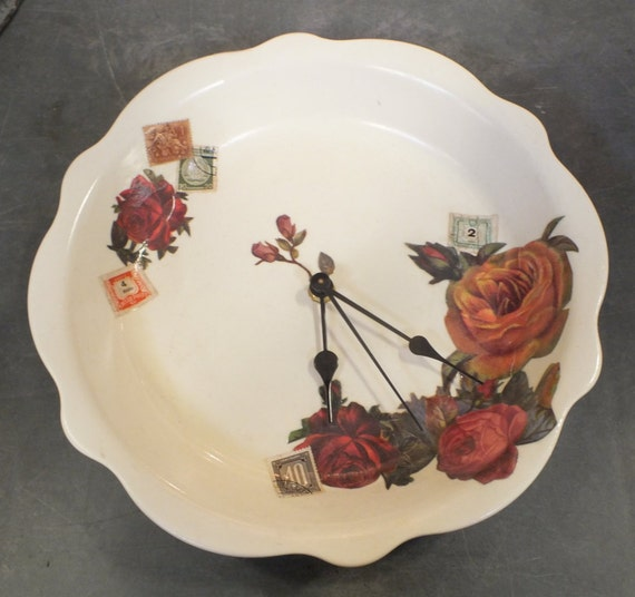 plate clock southern living at home repurposed ceramic pie plat