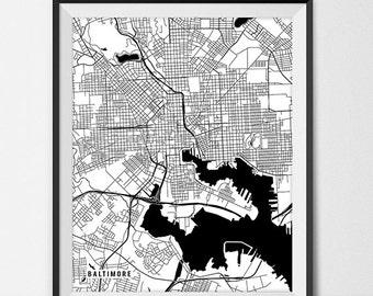 Baltimore Map Print, Baltimore Poster of Maryland Map of Baltimore Print Gift Baltimore Maryland Art Print Travel Map