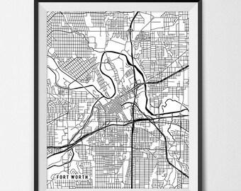 Fort Worth Map Print, Fort Worth Poster of Texas Map of Fort Worth Print Gift TX Fort Worth Texas Art University Map Poster Dorm Decor