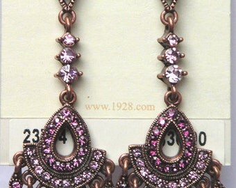 1928 Jewelry  Amethyst Color Crystal Fringe Earrings